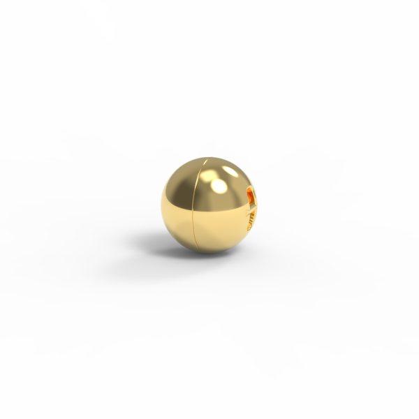 Magnet Kugel close Silber 999 3my vergoldet