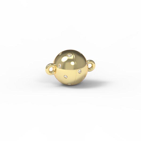 Magnet Kugel classic Diamant Sterne 14kt Gelbgold