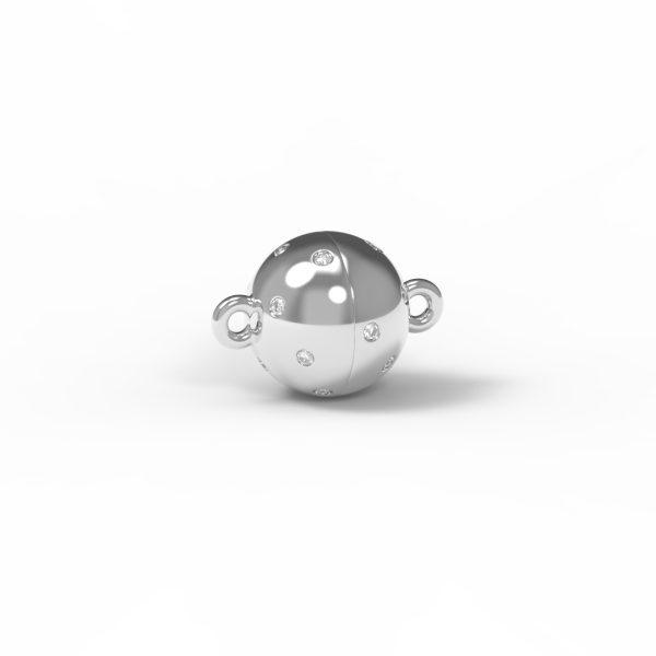 Magnet Kugel classic Diamant Sterne 18kt Weißgold rhodiniert