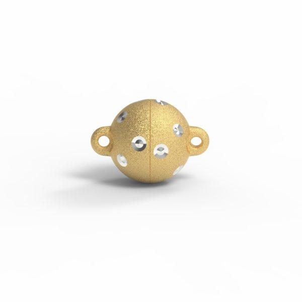 Magnet Kugel power DiamP Sterne Silber 999 3my vergoldet