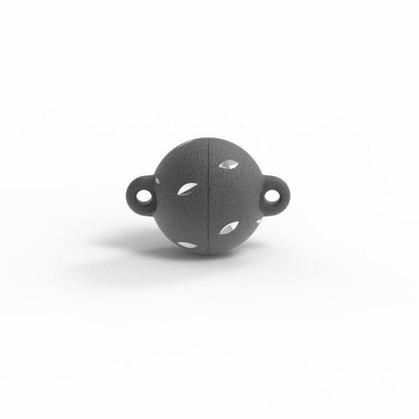Magnet Kugel power DiamCut Silber 999 schwarz rhod.