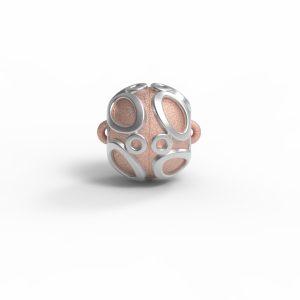"""Magnet Kugel Applikation """"Teardrop"""" Silber 925 rosé vg."""