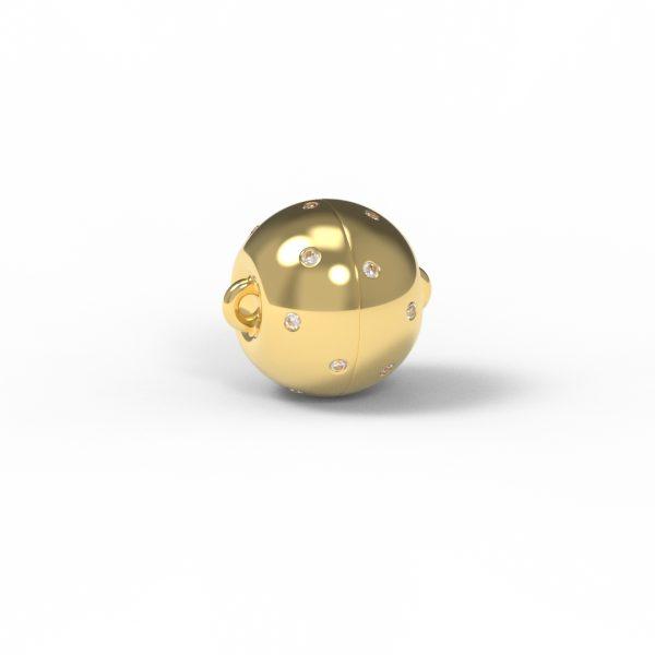 Magnet Kugel classic Diamant Sterne 18kt Gelbgold