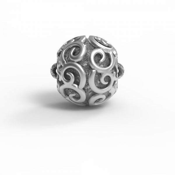 """Magnet Kugel Applikation """"Teardrop"""" Silber 925 Antik gebürstet"""